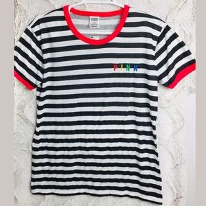 VS Pink Striped T-Shirt Top Tee Logo Basic Medium